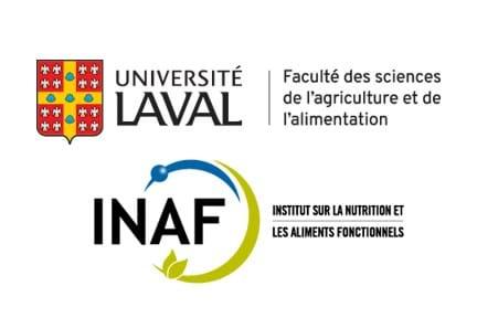 Logos de l'Institut sur la nutrition et les aliments fonctionnels et de la Faculté des sciences de l'agriculture et de l'alimentation de l'Université Laval.
